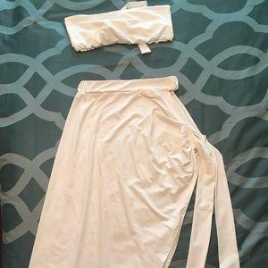 NWOT - White 2 piece skirt and halter set